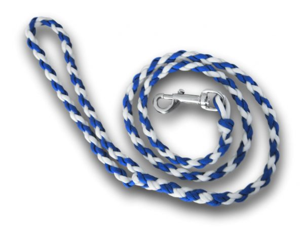 Paracord dog lead blue and white