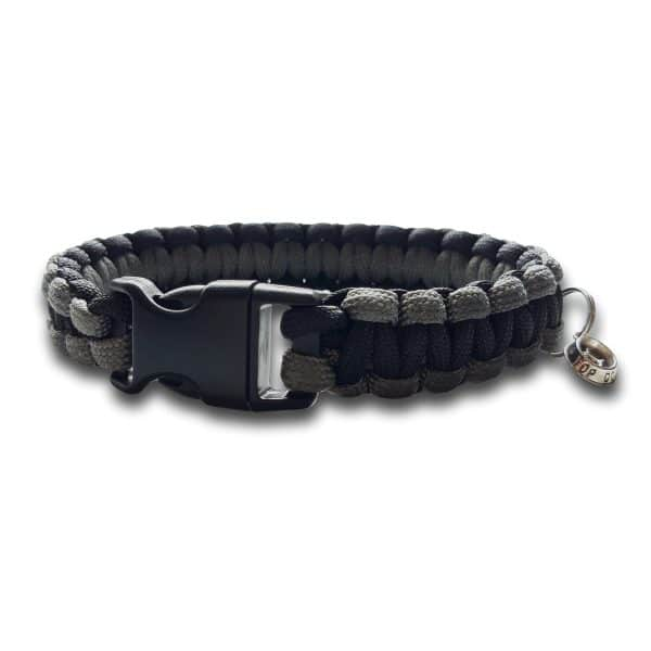 paracord dog collar cobra knot grey and black