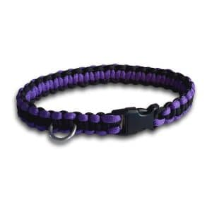 paracord dog collar cobra knot purple