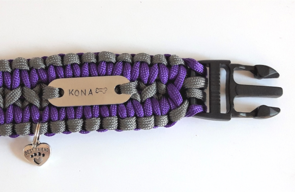 Personalised paracord dog collar