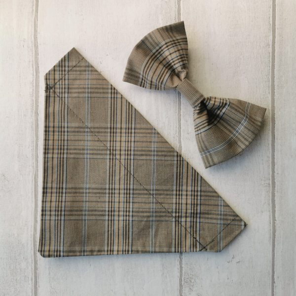 Country Plaid dog bandana and bow tie