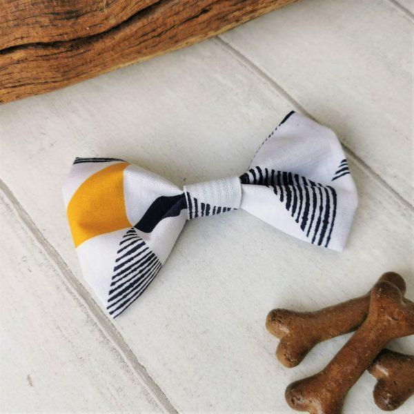 Triplicity geo pattern dog bow tie