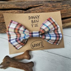 Casual check bow tie for dogs