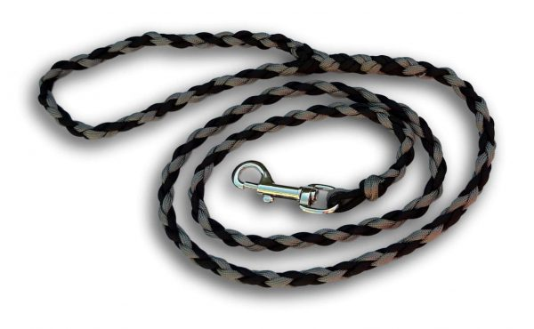 Paracord dog lead black and grey