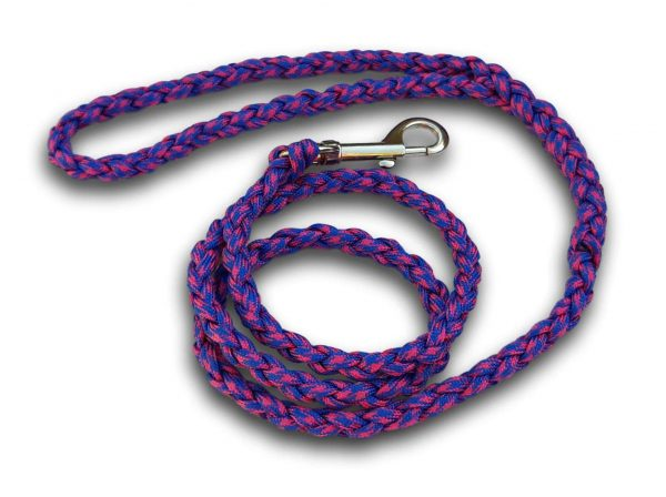 Paracord dog lead pink and blue