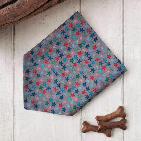 Grey stars handmade dog bandana