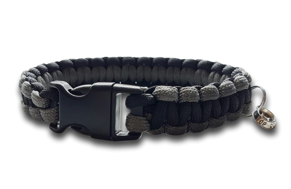 paracord dog collar cobra knot grey black