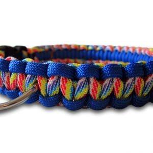 paracord dog collar cobra knot rainbow