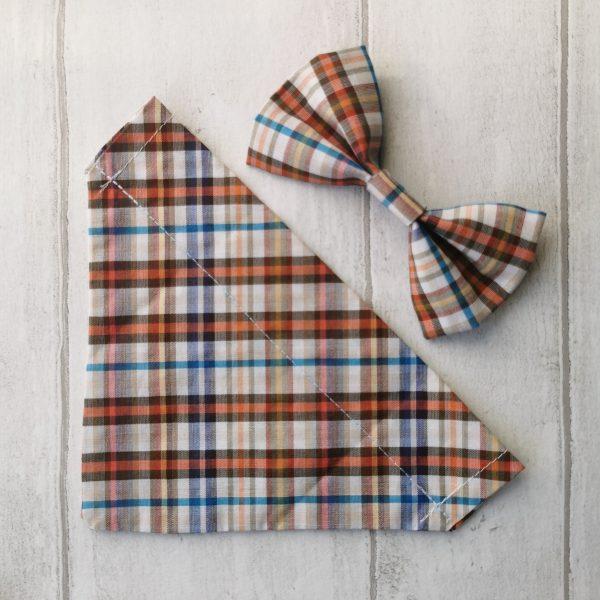 Casual check print dog bandana and bow tie