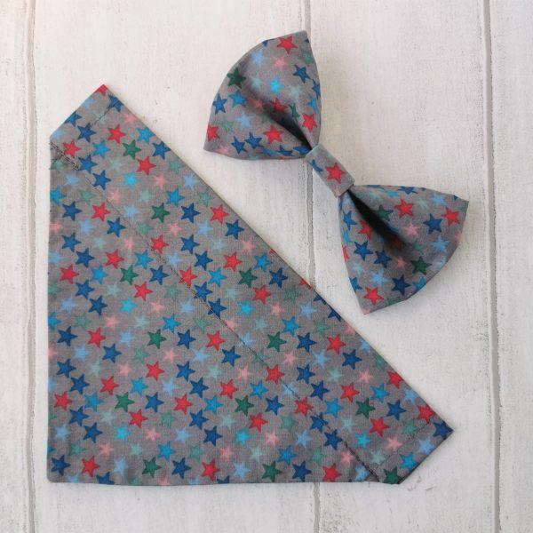 dog bandana and bow tie grey stars